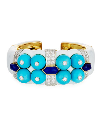 Sleeping Beauty Turquoise & Lapis Bracelet with Diamonds