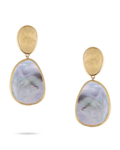 Lunaria Petite Stud Earrings with Black Mother-of-Pearl