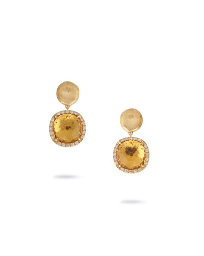 Jaipur Drop Earrings with Citrine & Diamonds