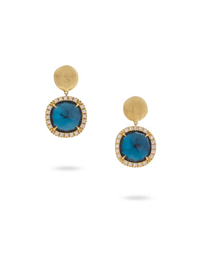 Jaipur Drop Earrings with Blue Topaz & Diamonds