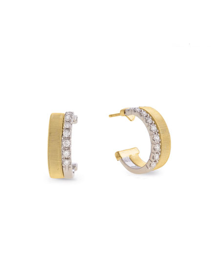 Marco Bicego Masai 18K White & Yellow Gold Coil Hoop Earrings with Diamonds