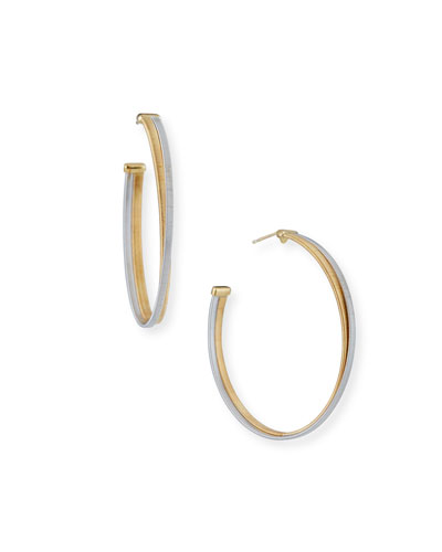 Masai Large 18K White & Yellow Gold Hoop Earrings