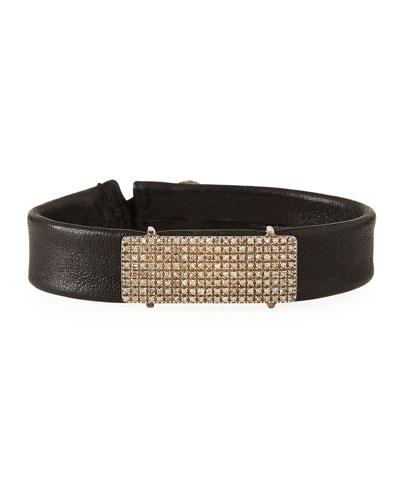 Leather ID Bracelet with Diamonds