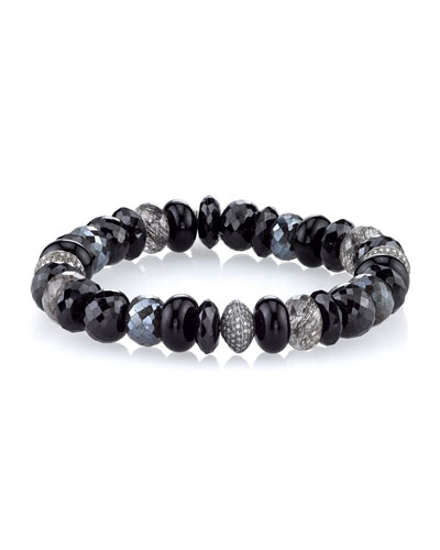 10mm Black Mix Beaded Bracelet with Diamonds
