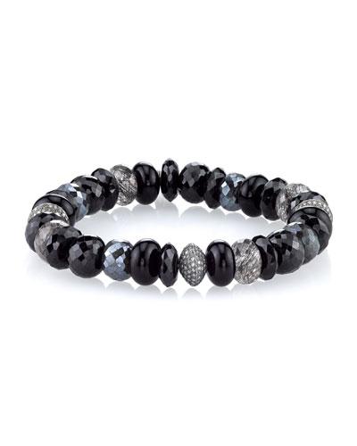 10mm Black Mix Beaded Bracelet with Diamonds