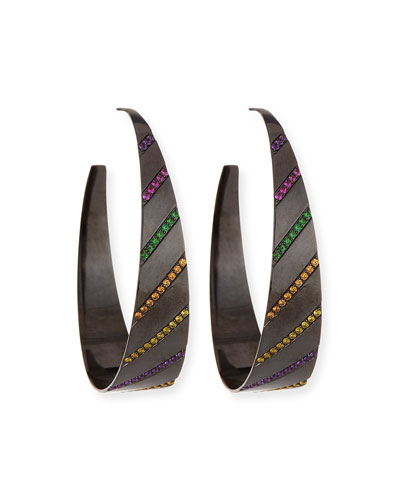 Electric Rainbow Sapphire Oval Hoop Earrings