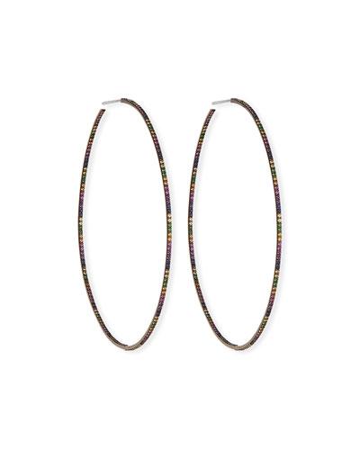 Electric Rainbow Sapphire Hoop Earrings in 14K Black Gold