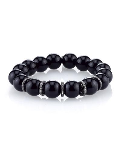 10mm Onyx Beaded Bracelet with Diamond Rondelles