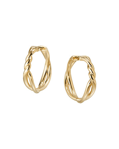 Quick Look David Yurman 21mm Continuance 18k Gold Hoop Earrings