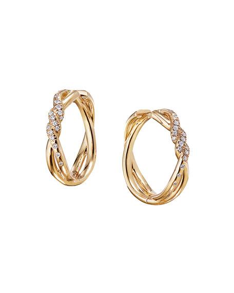 David Yurman 21mm Continuance 18K Hoop Earrings with Diamonds