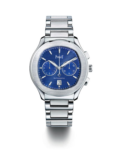 Stainless Steel Blue Chronograph Watch