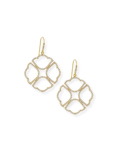 Lotus Clover Diamond Drop Earrings in 18K Gold