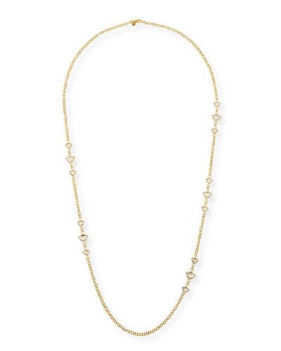 Nalika Lotus Station Necklace with White Topaz & Diamonds, 36