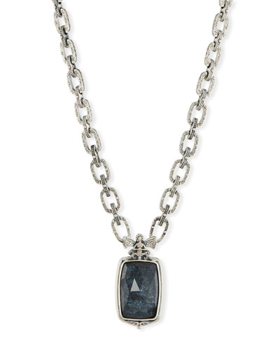 Rectangle Specular Hematite Doublet Necklace