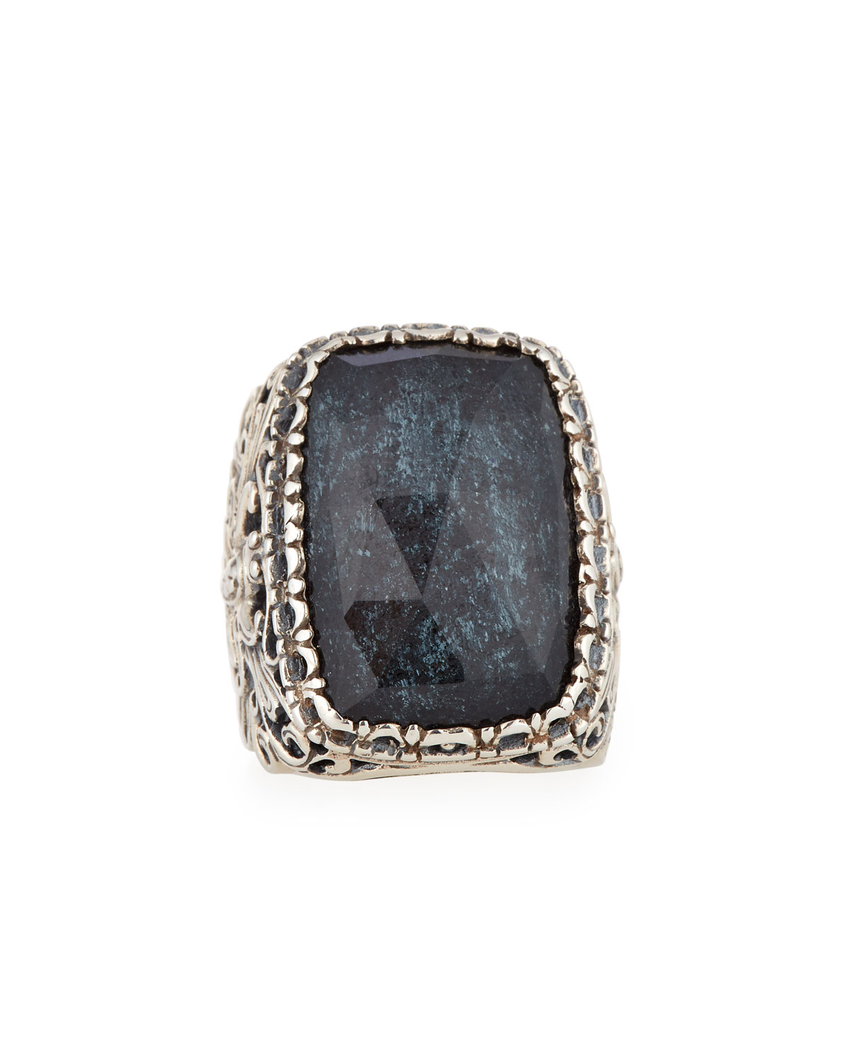 KONSTANTINO RECTANGLE SPECULAR HEMATITE DOUBLET RING, SIZE 7