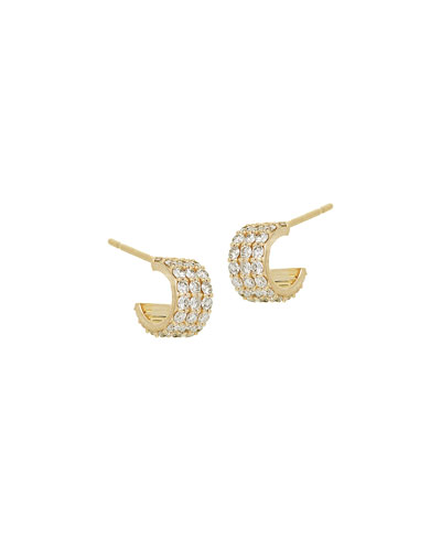 Diamond Huggie Earrings in 14K Gold