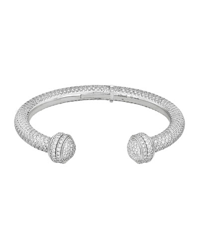 Possession 18K White Gold Diamond Open Bangle