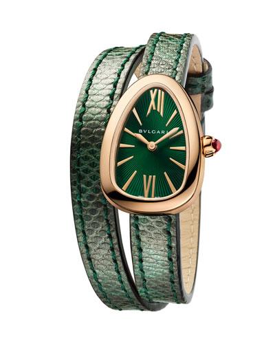 Serpent Twist 18K Rose Gold Snakeskin Wrap Watch
