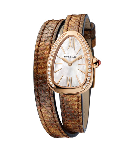 Serpent Twist 18K Rose Gold Snakeskin Wrap Watch with Diamonds