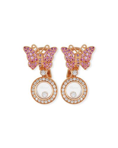 18k Happy Diamonds Butterfly Double-Drop Earrings