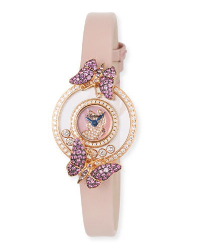 Happy Diamond Butterfly 18k Rose Gold Amethyst & Pink Sapphire Watch