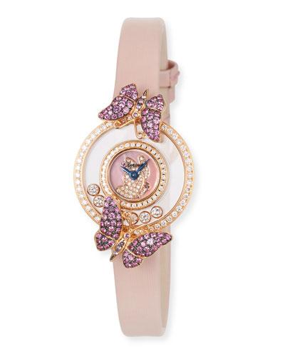 Happy Diamond Butterfly 18k Rose Gold Amethyst & Pink Sapphire Watch