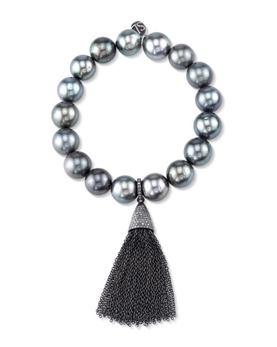Beaded Tahitian Pearl Bracelet with Tassel
