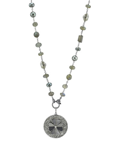 Gray Beaded Necklace with Diamond Clover Pendant