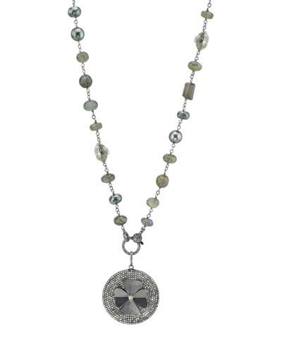 Gray Beaded Necklace with Diamond Clover Pendant
