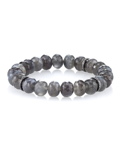 10mm Beaded Gray Moonstone Bracelet with Three Pave Diamond Rondelles