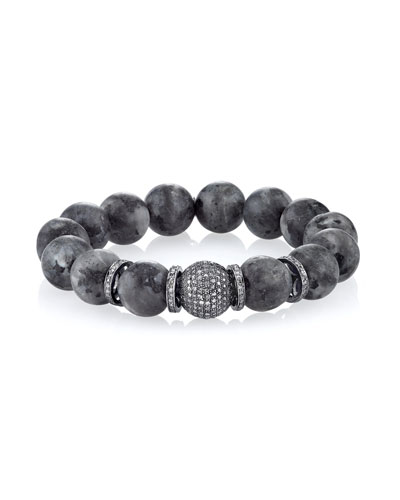 12mm Matte Labradorite Beaded Bracelet with Diamond Beads