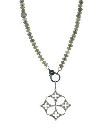 Gray Moonstone Beaded Necklace with Diamond Malta Cross Pendant