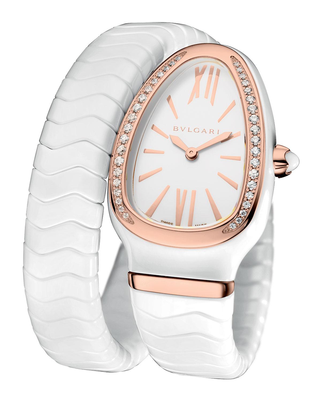 Spiga White Ceramic & 18K Rose Gold Watch with Diamonds
