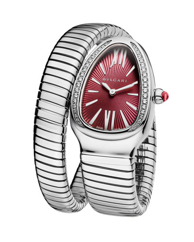 Serpenti Tubogas Wrap Watch with Diamonds, Silver/Violet