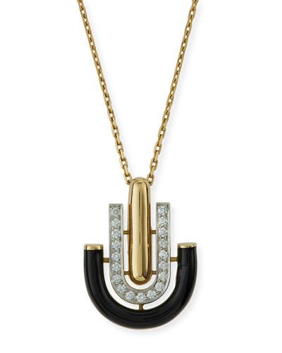 Black Enamel & Diamond U-Drop Pendant Necklace