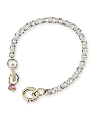OSCAR HEYMAN 18K WHITE GOLD PARTIAL DIAMOND WATCH BRACELET WITH PINK SAPPHIRE TOGGLE