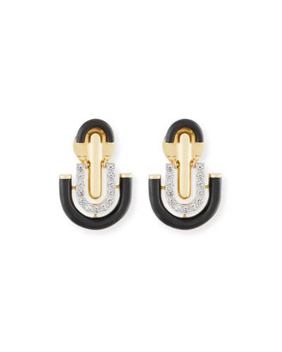 Black Enamel & Diamond Unity Earrings