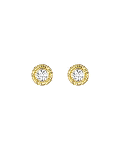 Twisted Bezel Diamond Earrings