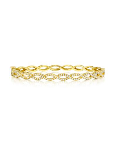 Entwined 18K Gold Bracelet with Diamonds