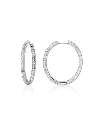 American Jewelery Designs 25mm Pavé Diamond Hoop Earrings 0wjkE