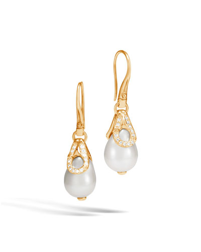 Bamboo 18K Pearl Drop Earrings with Diamonds