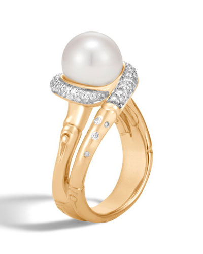 Bamboo Pearl 18K Gold Ring with Diamonds, Size 6