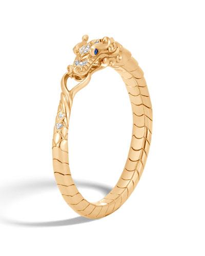 Legends Naga 18K Gold Bracelet with Diamonds & Blue Sapphire
