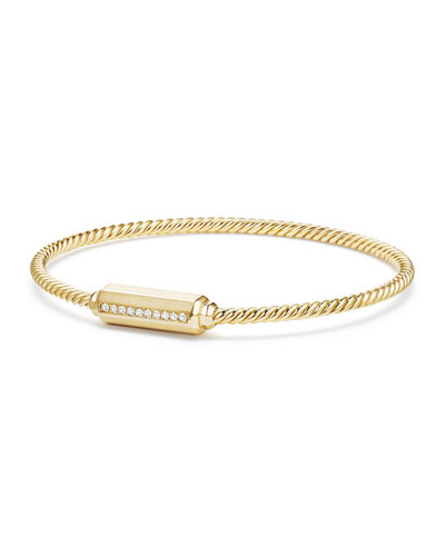 18K Gold Barrel Bracelet with Diamonds, Size L