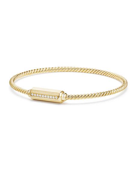 David Yurman 18K Gold Barrel Bracelet with Diamonds, Size L