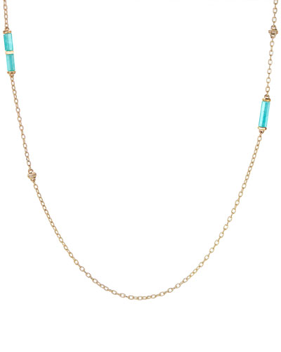 Faceted Amazonite Barrel Pendant Necklace with Diamonds, 36