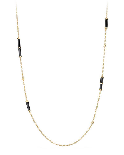 18K Gold Long Black Onyx Barrel Station Necklace with Diamonds, 36