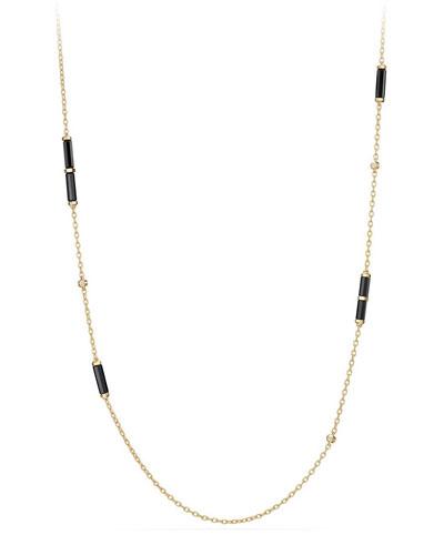 18K Gold Long Black Onyx Barrel Station Necklace with Diamonds, 36