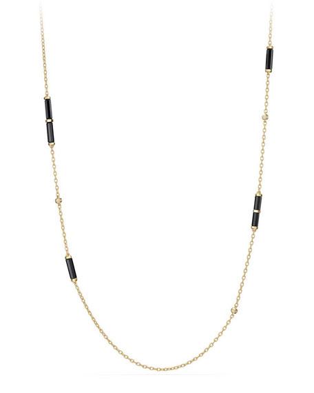 "David Yurman 18K Gold Long Black Onyx Barrel Station Necklace with Diamonds, 36"""