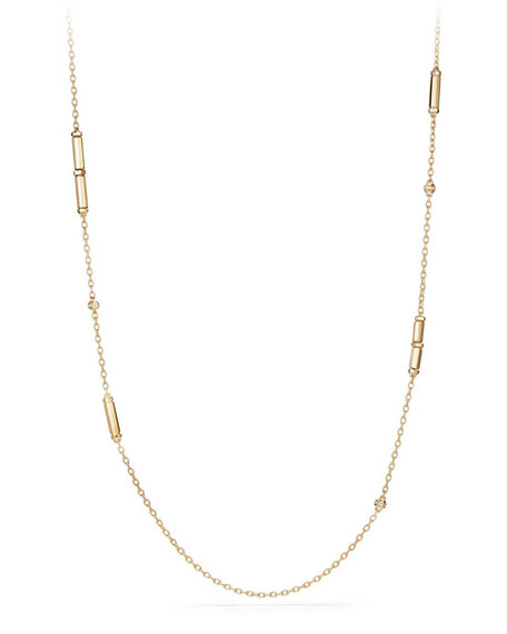 "David Yurman 18K Gold Long Barrel Station Necklace with Diamonds, 36"""